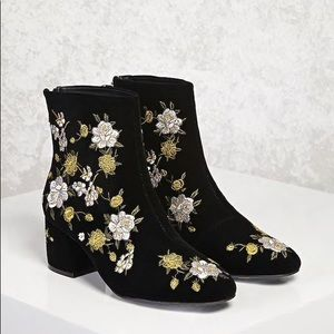 Shoes - Floral Embroidered Velvet Booties